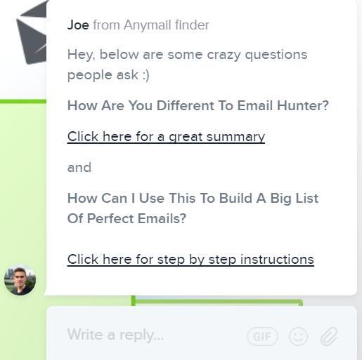 Anymail finder Intercom chatbot