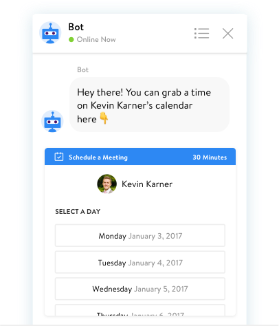 chatbot scheduling a meeting