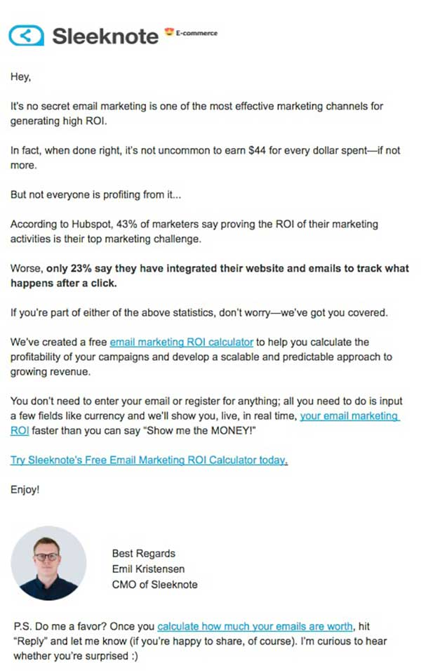 Email sharing discouraging statistics about how hard it is to calculate ROI, and a free tool to do it for you.