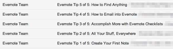 List of subject lines showing which of the five tips you received.