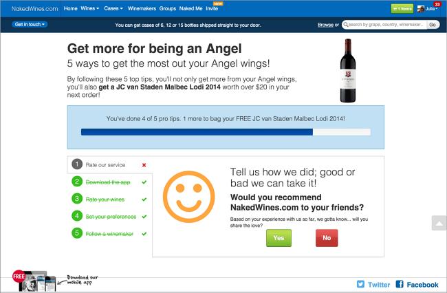Checklist showing progress towards earning a bottle of wine.