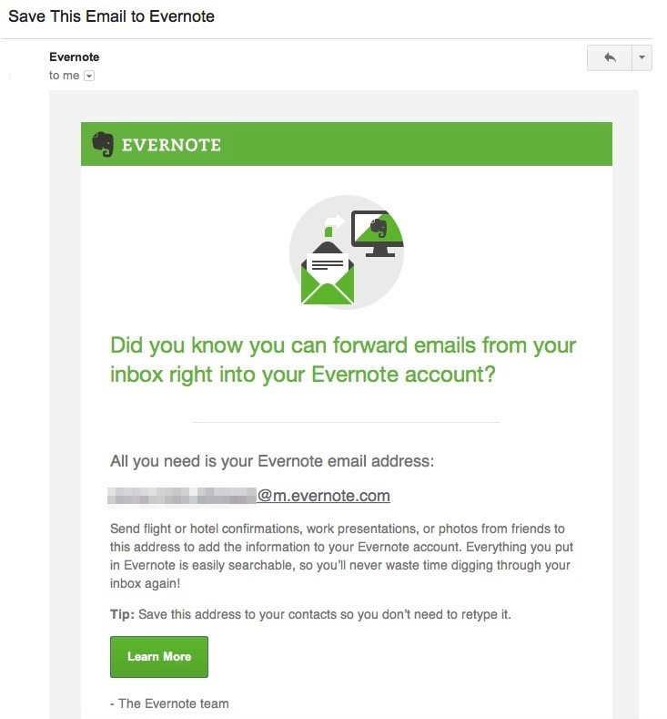 Email asking users to forward their email to Evernote.
