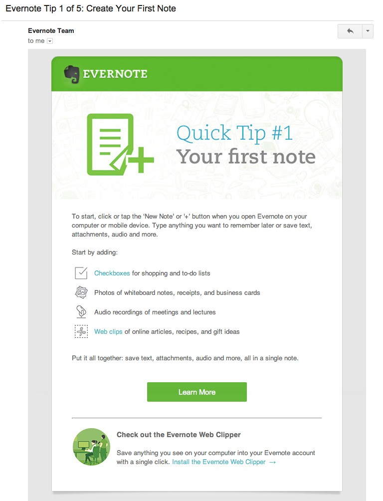 The first of five onboarding tips from Evernote.