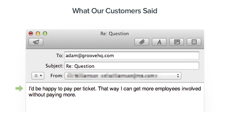 Customer feedback about pricing