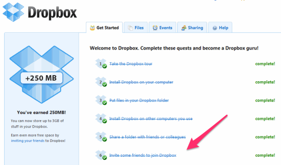 Checklist of things you have completed in DropBox.