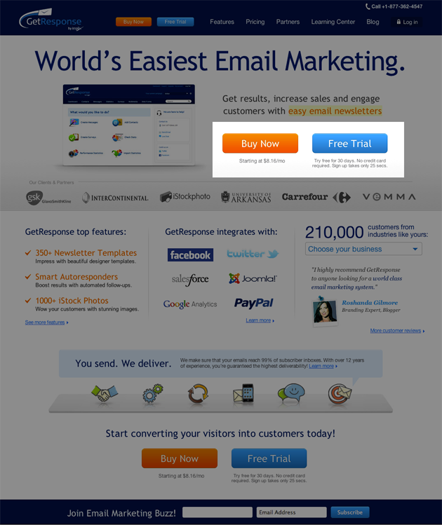 The updated pricing page included a free trial offer