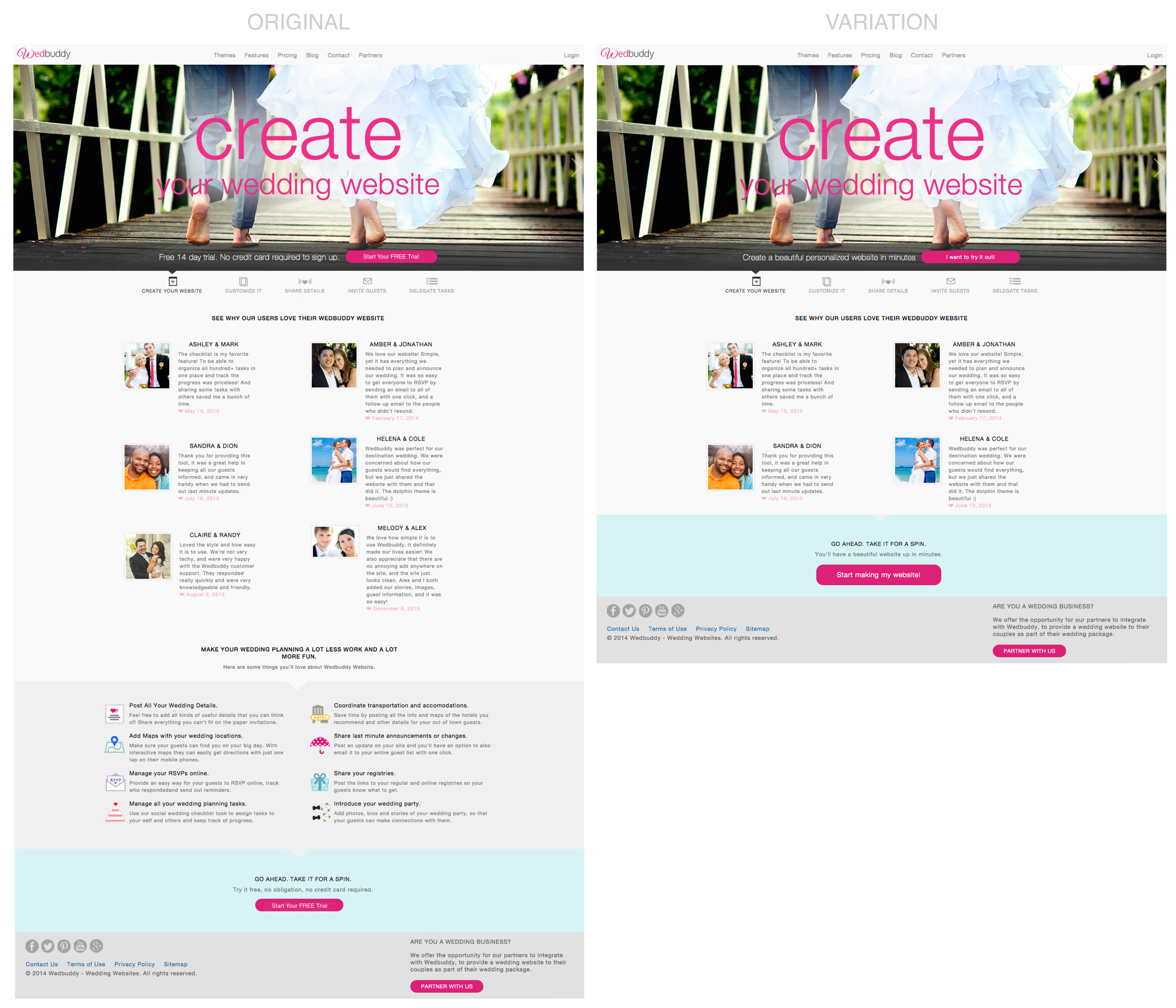 Side-by-side comparison of the original and updated homepage