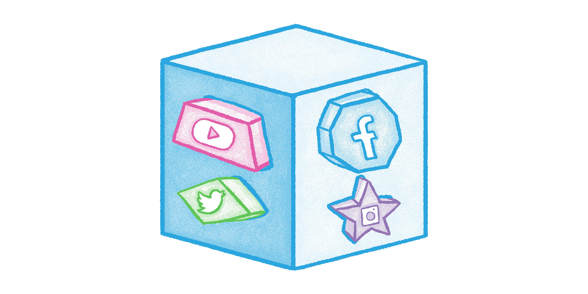 a shape-sorting-cube with social media icons