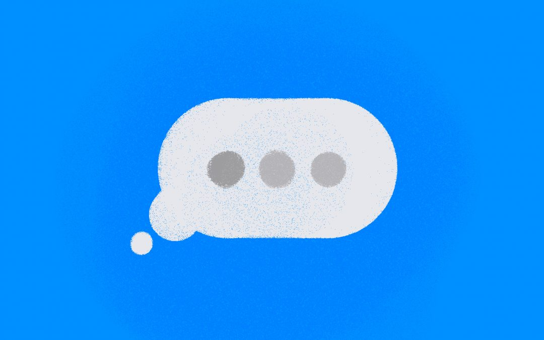 texting chat bubbles on a blue background