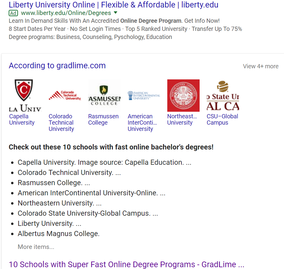 Featured snippet listing schools with fast online degrees