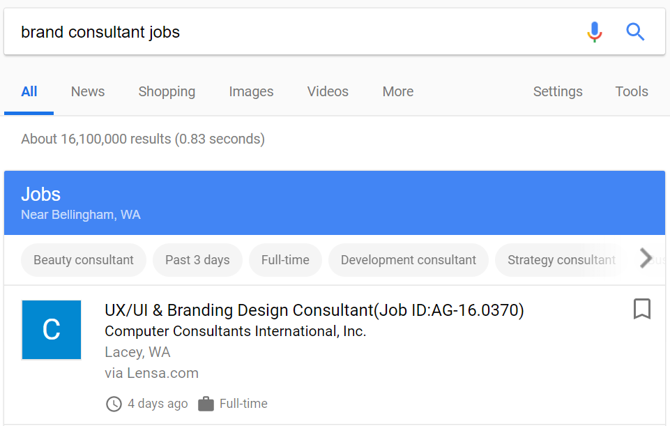 Google for Jobs result shows branding consultant positions nearby