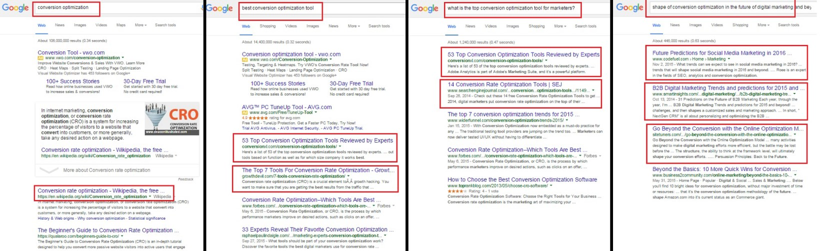 Four search engine results pages side by side