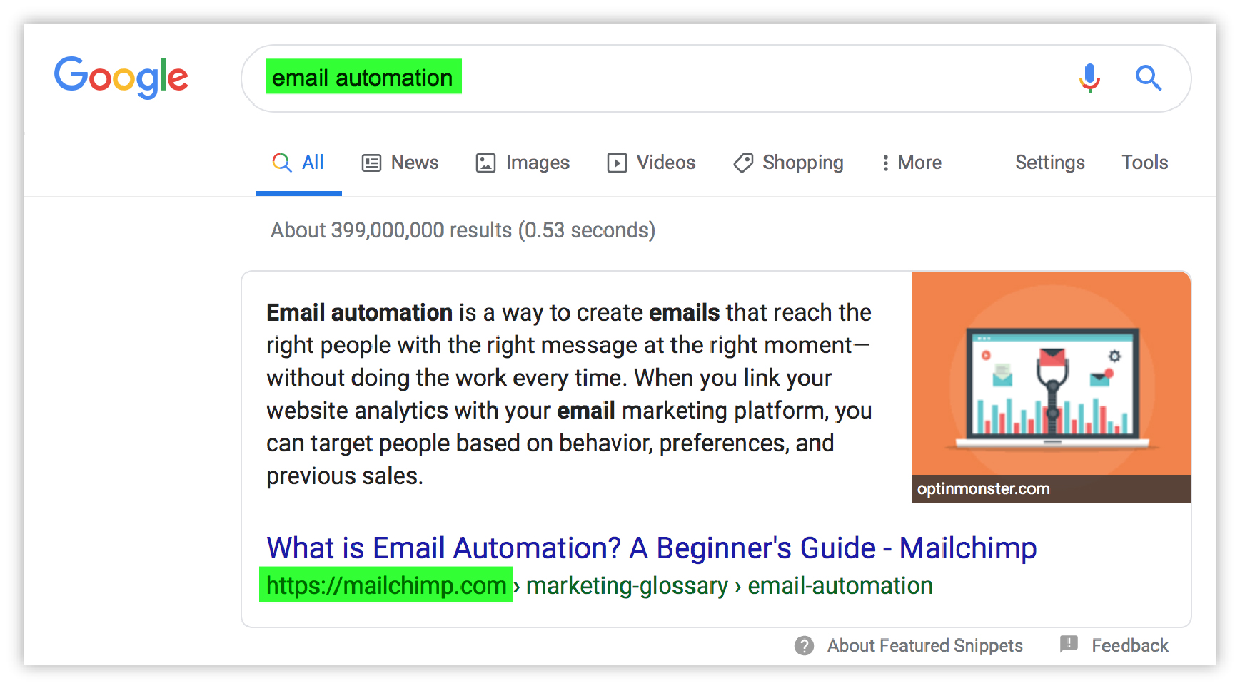 "screenshot of SERP for ""email automation"""