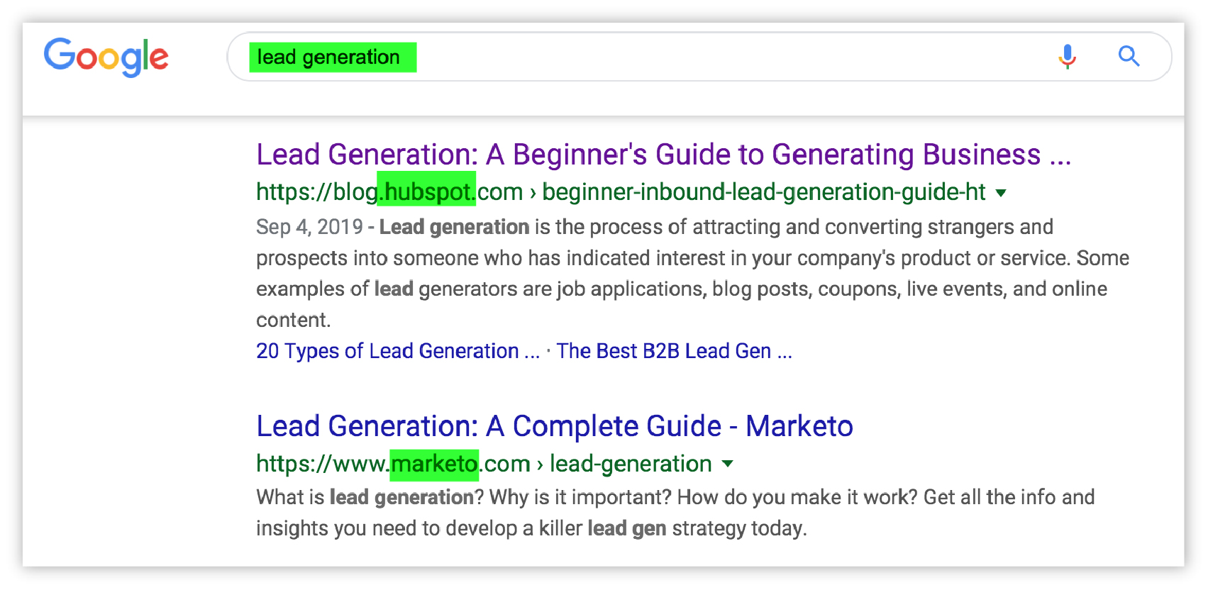 "screenshot of SERP for ""lead generation"""