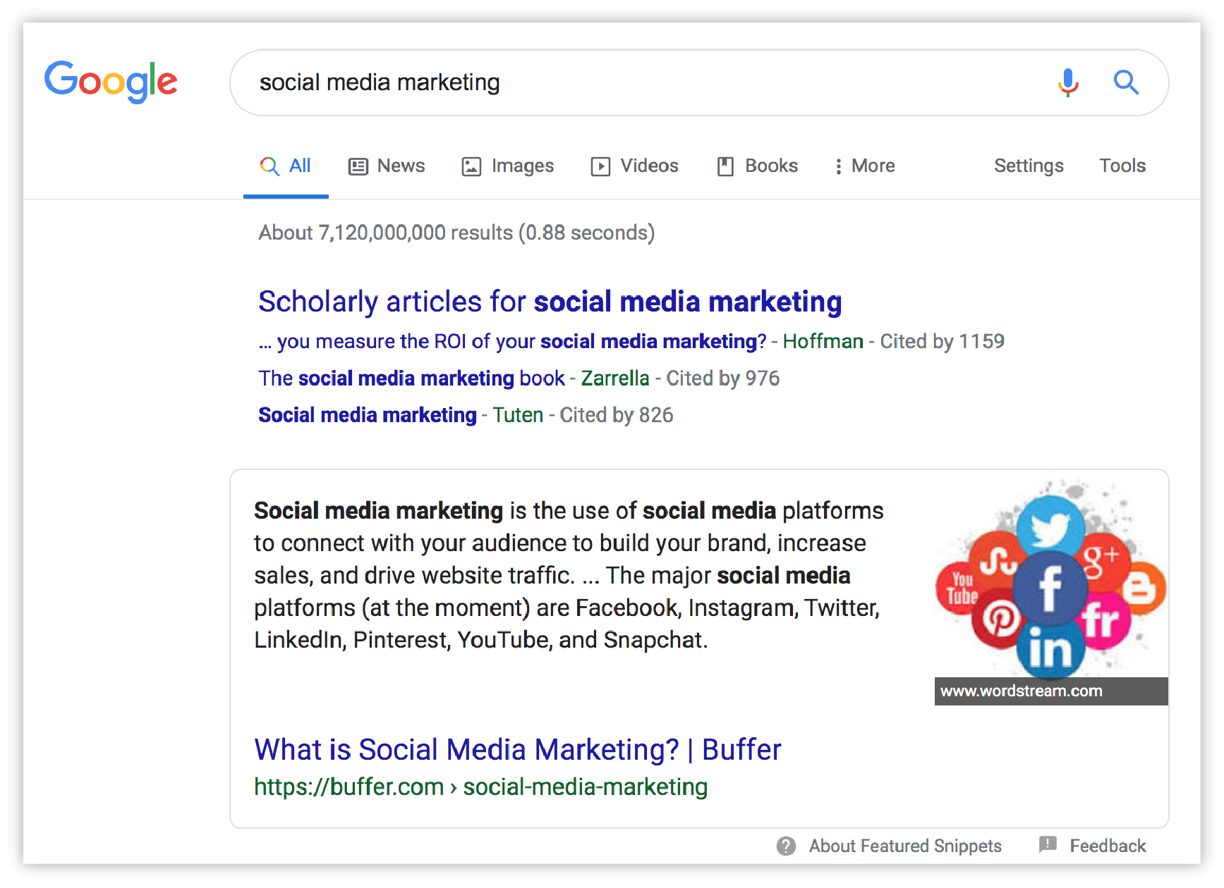 "screenshot of SERP for ""socialmedia marketing"""
