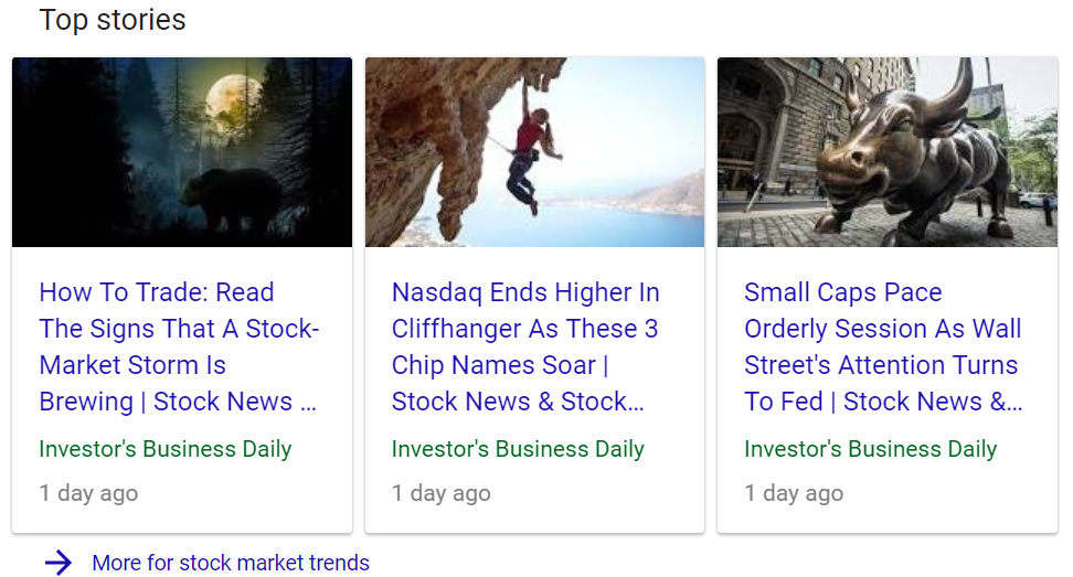 Top stories feature for stock market trends