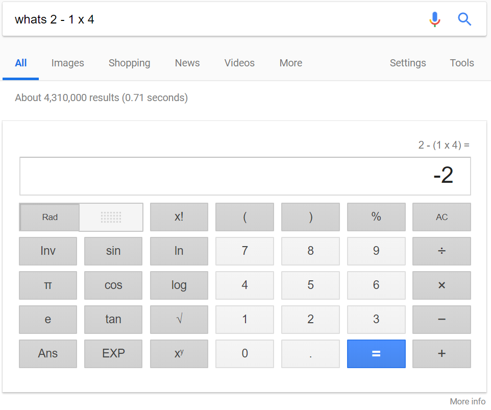 When you search for a math problem, Google gives you a calculator