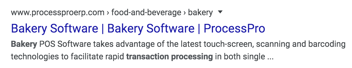 "This SERP result says ""Bakery software"" twice"