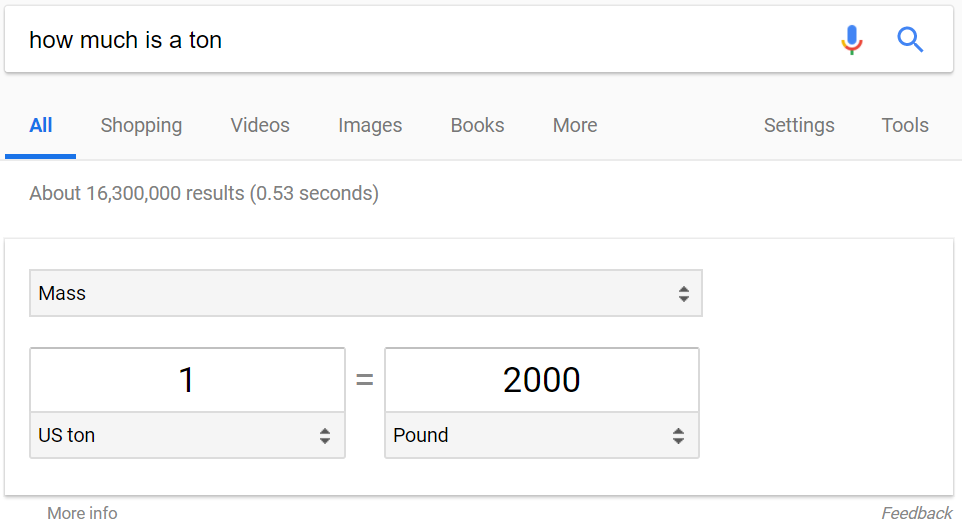 Google displays a unit converter for some searches