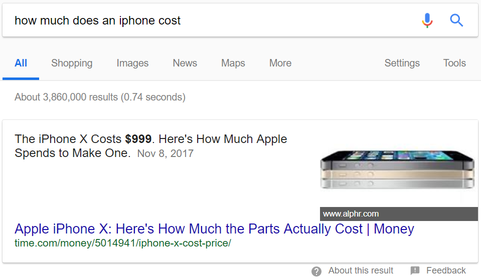 A featured snippet uses a Time article to tell you how much an iPhone X costs