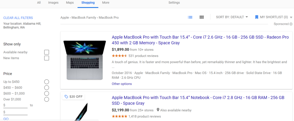 Google creates its own product comparison page