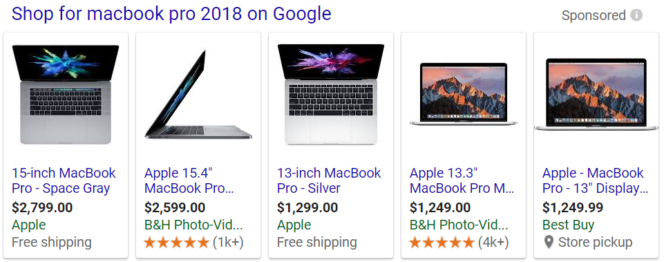 Ad showing various places to buy a 2018 Macbook Pro