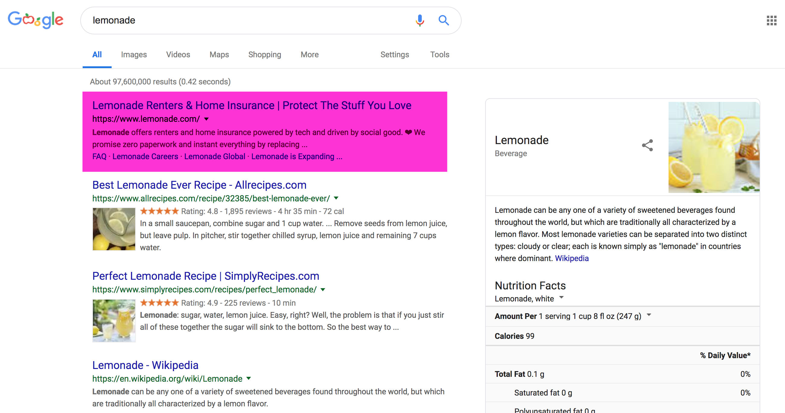 "Google SERP with Lemonade.com ranking #1 for ""lemonade"" search"