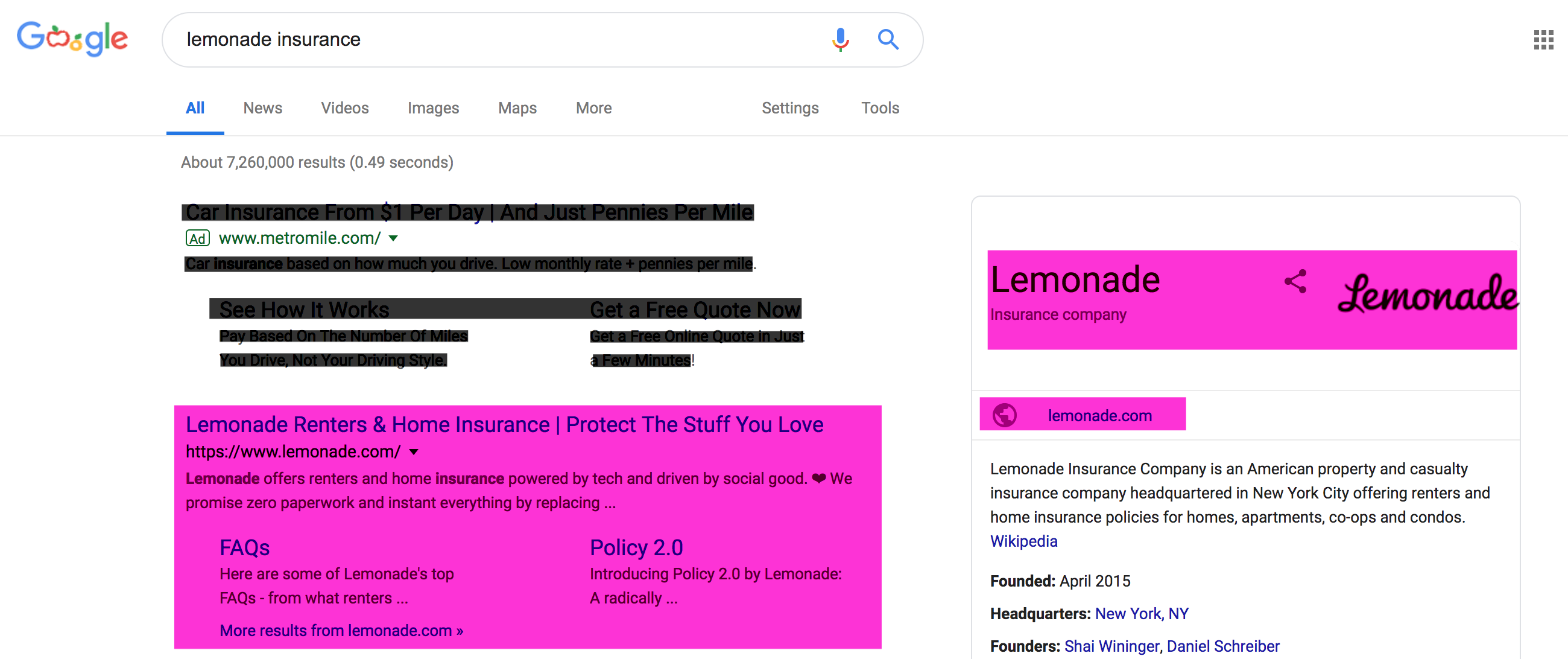 "Google SERP with Lemonade.com ranking #1 for ""lemonade insurance"" search"