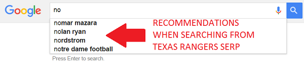 Suggested search results that start with no related to Texas Rangers