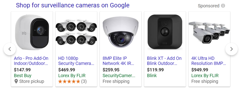 Shopping ad for various kinds of surveillance cameras