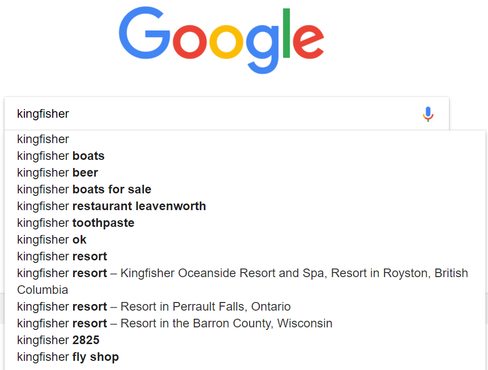 Google suggests searches to disambiguate Kingfisher